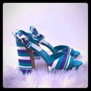 Size 9.5 Blue/Teal Multi Striped Platform Sandals
